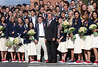 Russian Prime Minister Dmitry Medvedev at a meeting with members of the Russian Olympic team