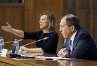 Russian Foreign Ministry Spokesperson Maria Zakharova and Russia's Foreign Minister Sergei Lavrov