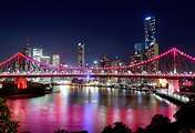 Story Bridge in Brisbane lit up as part of the G20 Cultural Celebrations