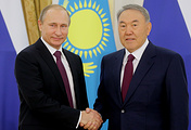 Russian and Kazakh presidents Vladimir Putin and Nursultan Nazarbaev