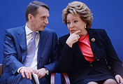 Russian State Duma speaker Sergey Naryshkin and Federation Council speaker Valentina Matviyenko