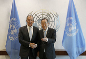 Russian Foreign Minister Sergei Lavrov and UN Secretary General Ban Ki-moon