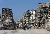 Devastated part of the old city of Homs, Syria