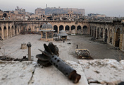 Heavily damaged Grand Umayyad mosque in the old city of Aleppo, Syria
