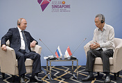Russian President Vladimir Putin and Singaporean Prime Minister Lee Hsien Loong