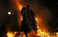A man rides a horse through a bonfire as part of a ritual in honor of Saint Anthony the Abbot in San Bartolome de Pinares, Spain
