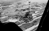 The wreckage of the Chernobyl nuclear power plant is seen from a helicopter, days after the April 26, 1986 explosion