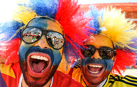 Team Colombia's fans by Mordovia Arena Stadium ahead of the 2018 FIFA World Cup First Stage Group H football match between Colombia and Japan