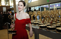 "Rachel Brosnahan, winner of the award for outstanding lead actress in a comedy series for ""The Marvelous Mrs. Maisel"""
