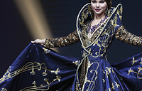 Miss Russia Yulia Polyachikhina poses in her national costume during the Miss Universe 2018 national costume contest in Pattaya, Thailand