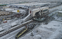 An aerial view of the scene of a train accident in Ankara, Turkey