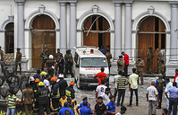 Sri Lankan Army soldiers securing the area around St. Anthony Shrine after a blast in Colombo, Sri Lanka