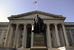 The US Department of the Treasury building in Washington, DC