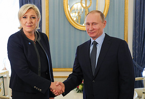 Leader of France's National Front political party Marine Le Pen and Russian President Vladimir Putin