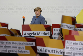 German Chancellor Angela Merkel at the headquarters of the Christian Democratic Union CDU in Berlin