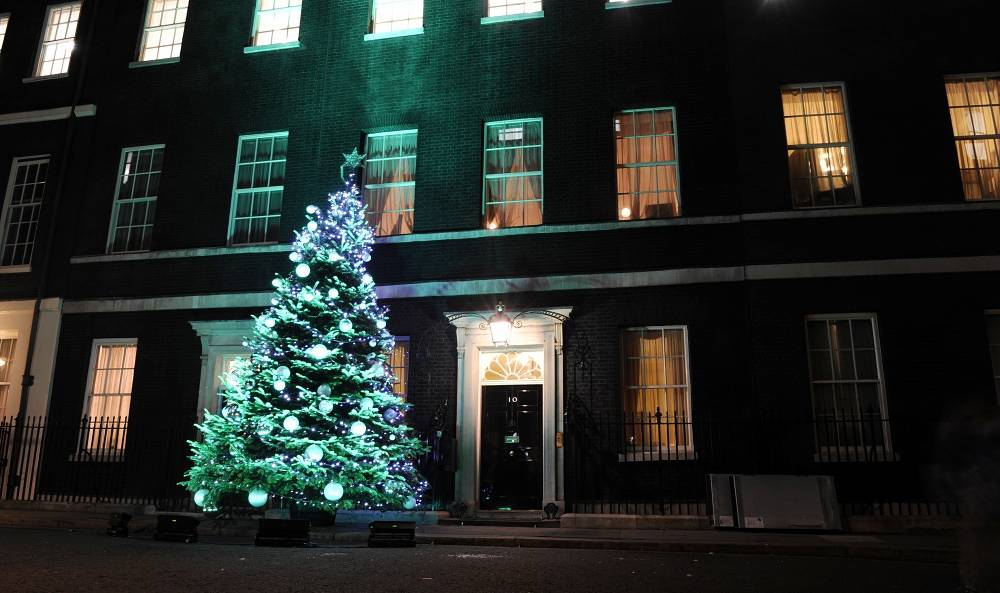 Christmas tree in Downing Street in London
