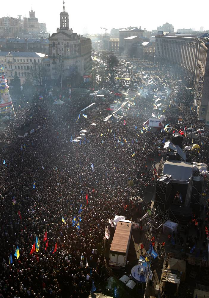 Ukrainian pro-European protestors attend a protest rally on the Independence Square in Kiev, Ukraine.