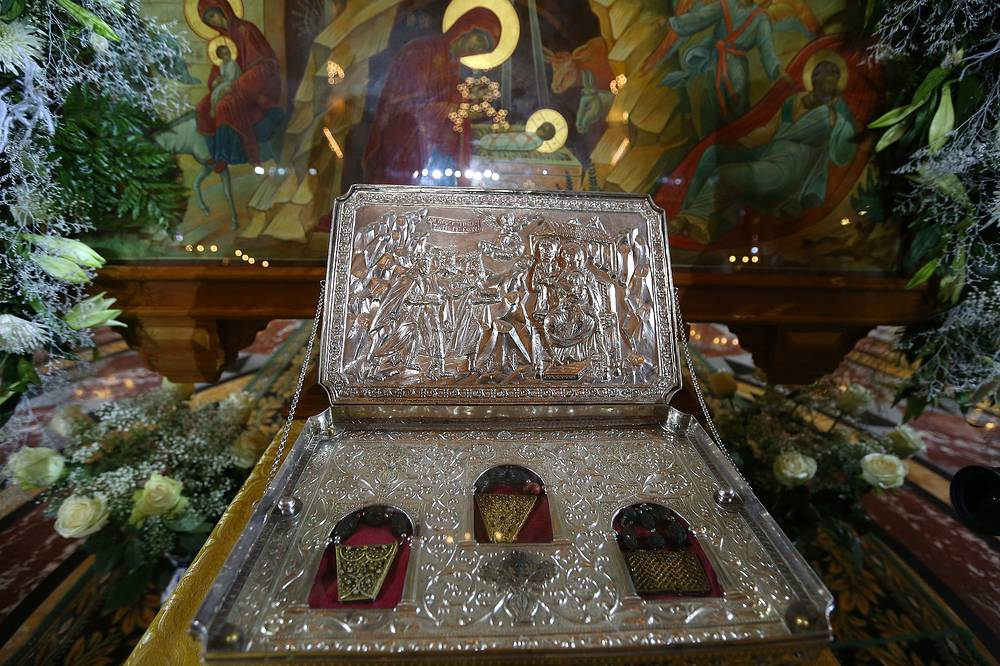 A shrine containing sacred relics from Mount Athos in Greece, believed to be the gifts presented by the Magi