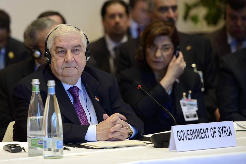 Syrian Foreign Minister Walid Muallem opens the so-called Geneva II peace talks in Montreux