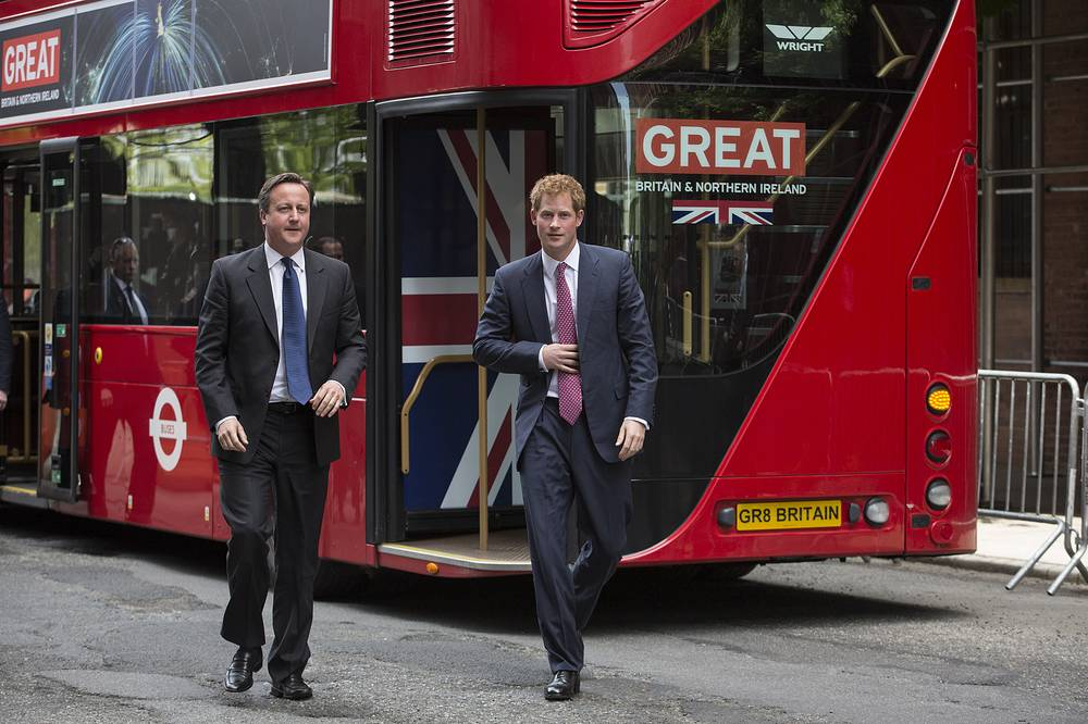 Prince Harry (R) and Prime Minister David Cameron (L) took a double-decker to a promotion event in New York in May 2013