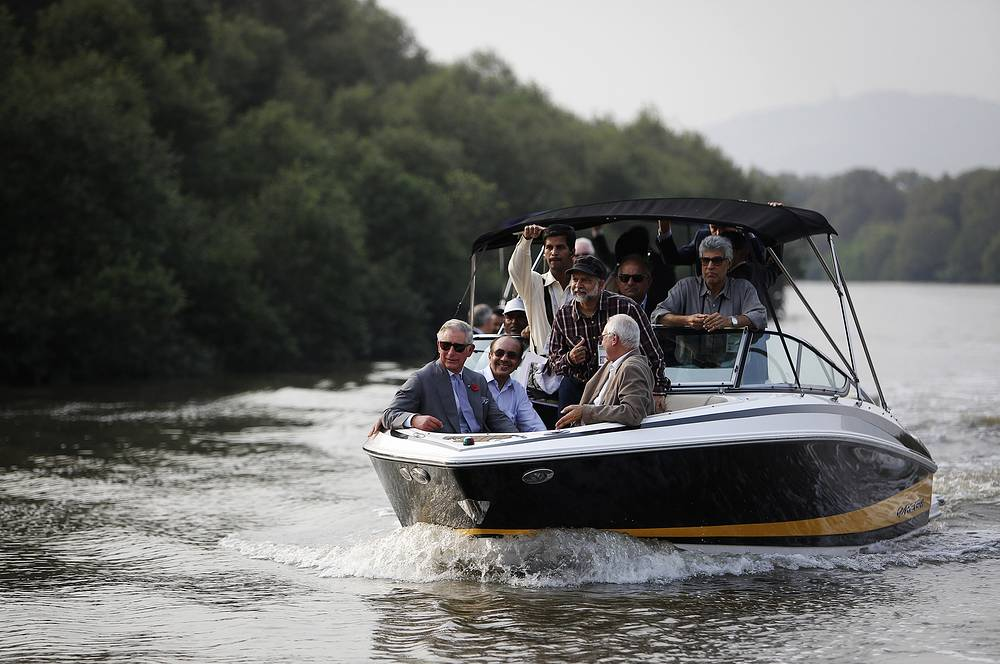 Meanwhile, her husband, Britain's Prince Charles, took a boat-tour to a conservation area near Mumbai