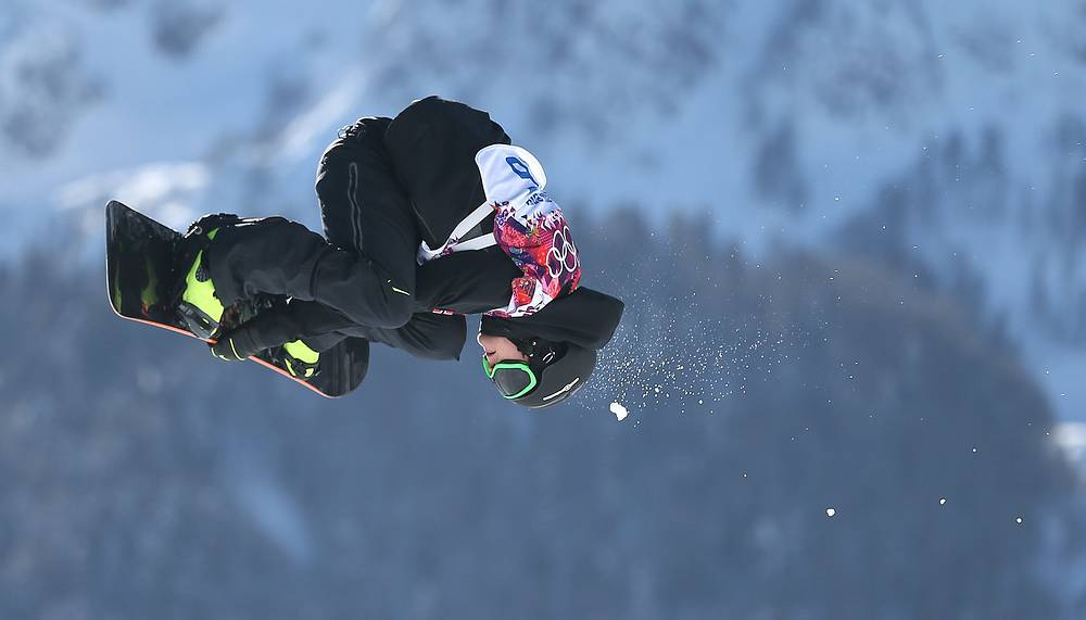 Gjermund Braaten of Norway during his first run in heat two of the Men's Snowboard Slopestyle qualification at Rosa Khutor Extreme Park at the Sochi 2014 Olympic Games, Krasnaya Polyana, Russia