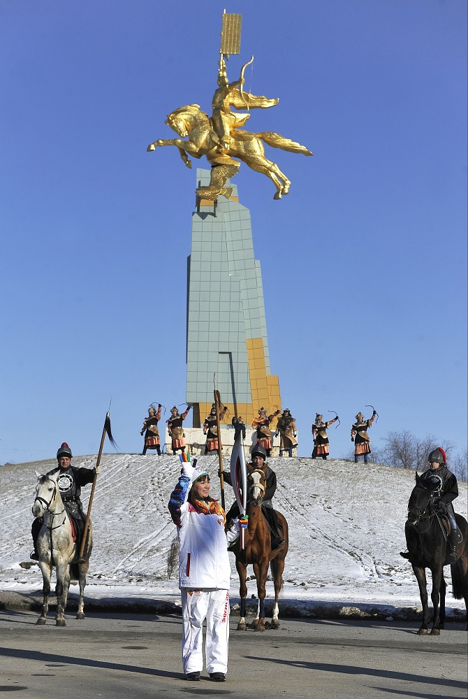 Olympic flame in Elista, capital city of the Republic of Kalmykia