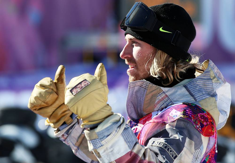 Sage Kotsenburg of the USA reacts after winning the men's Snowboard Slopestyle final at Rosa Khutor Extreme Park at the Sochi 2014 Olympic Games