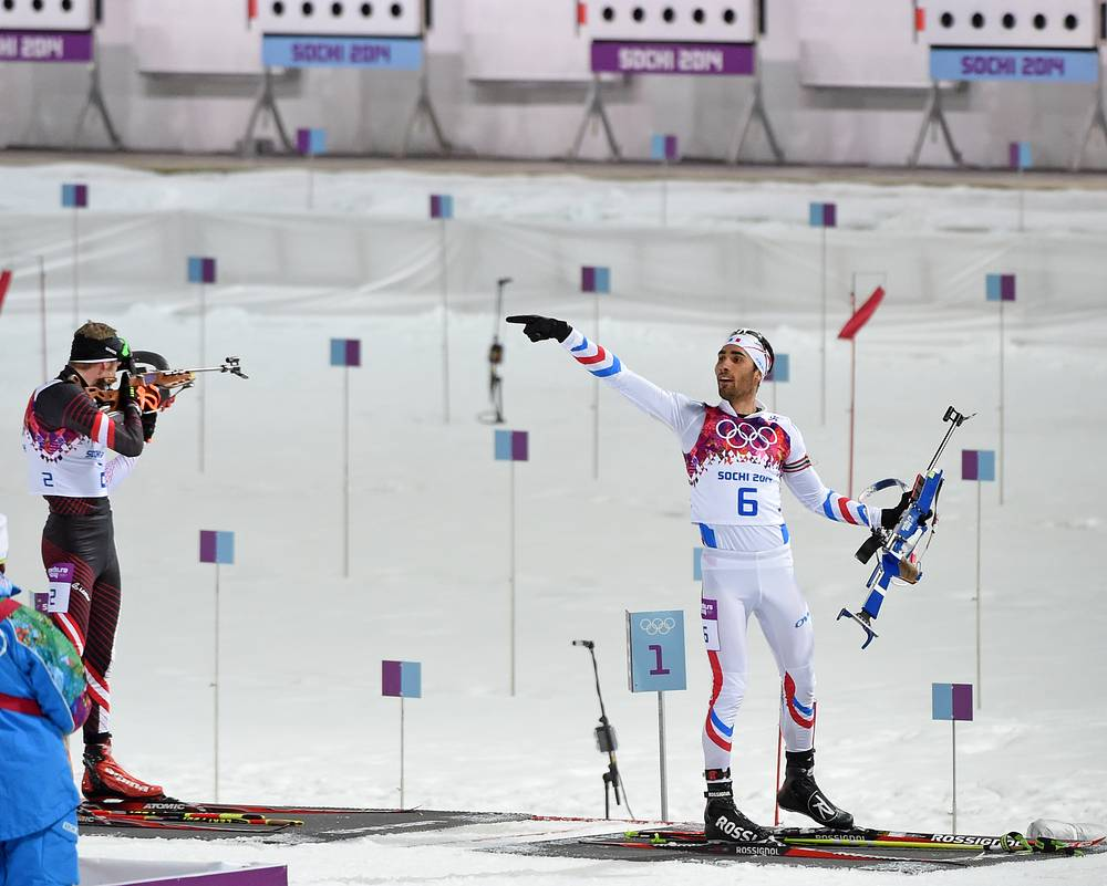 Martin Fourcade reacts after the last shooting during the biathlon 12.5km pursuit competition