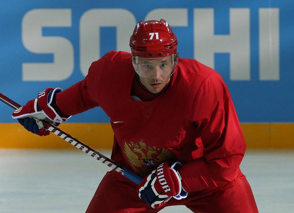 Forward Ilya Kovalchuk looks on during a training session of the Russian national ice hockey team at the Bolshoi Ice Palace.