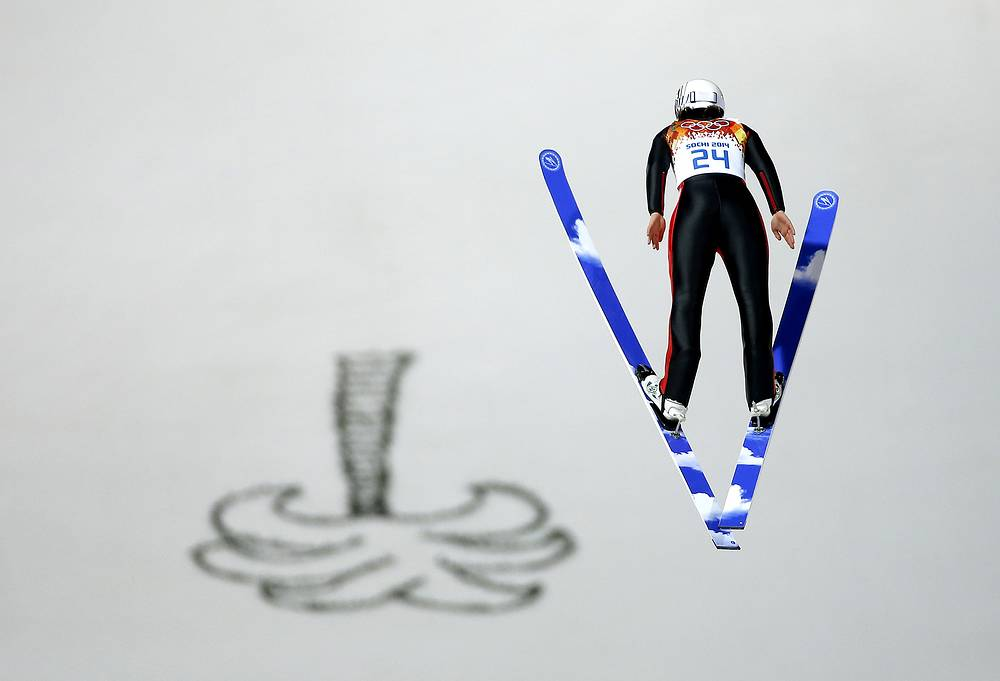 Bronze medal winner Coline Mattel of France in action during the Women's Normal Hill Individual Ski Jumping competition