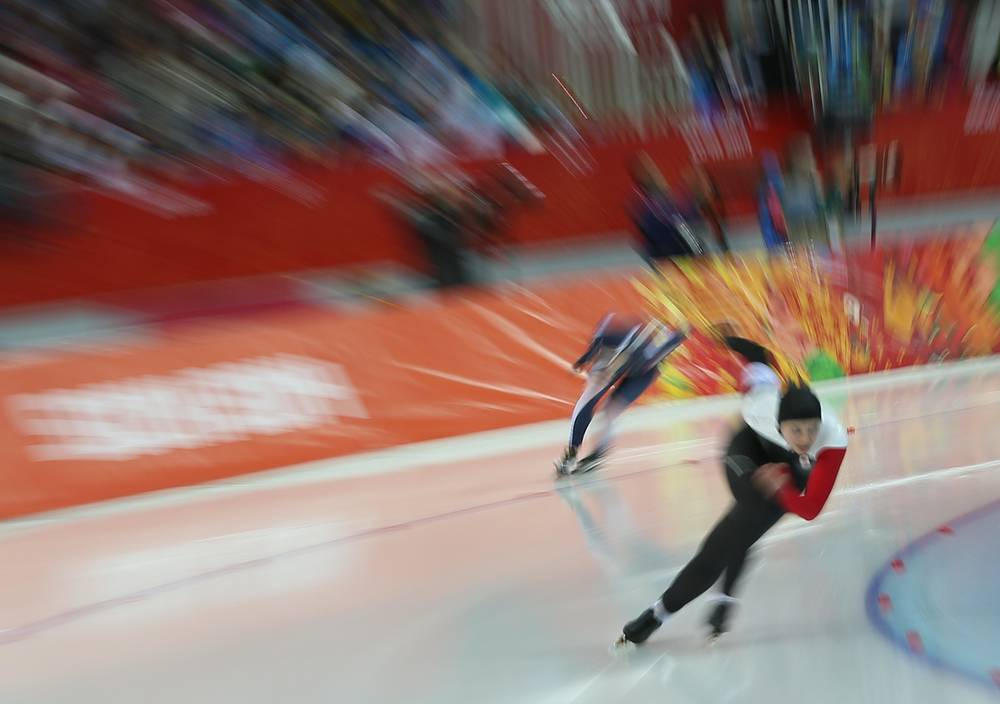 Canada's Marsha Hudey competes in the Women's Speed Skating 500m Race