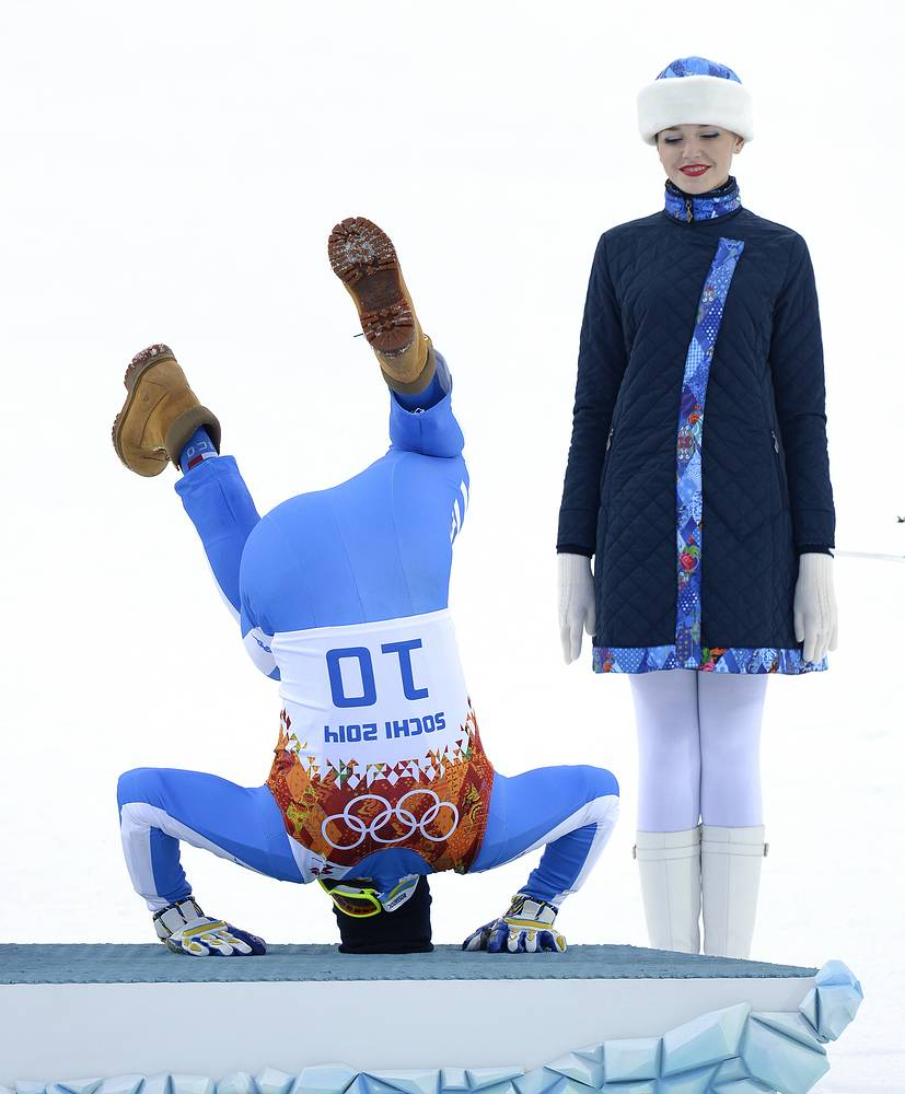 Christof Innerhofer of Italy celebrates his bronze medal in Men's Super Combined competition