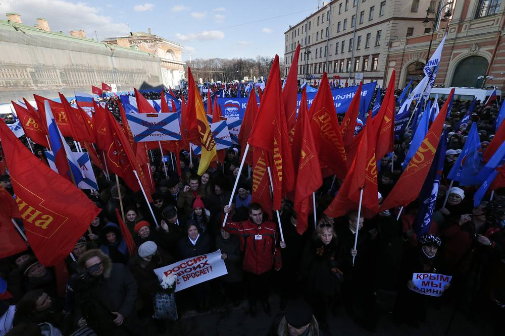 A rally celebrating Crimea and Sevastopol joining Russia in central St. Petersburg