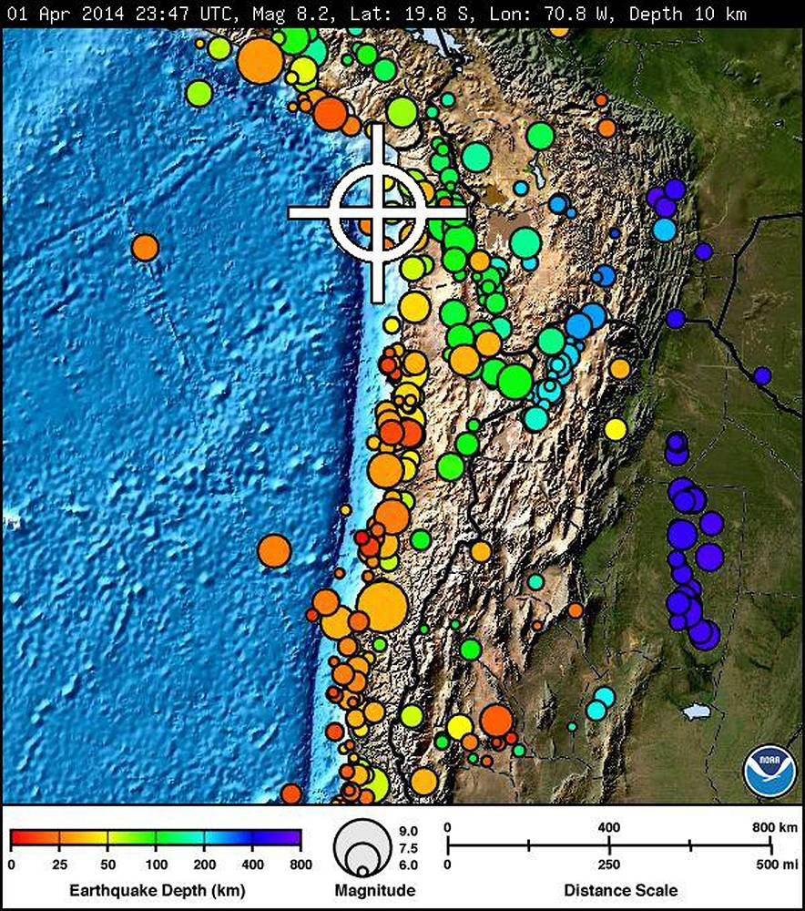 The location (white cross) of a powerful magnitude 8.2 earthquake off the coast of northern Chile, some 100 km from the city of Iquique.