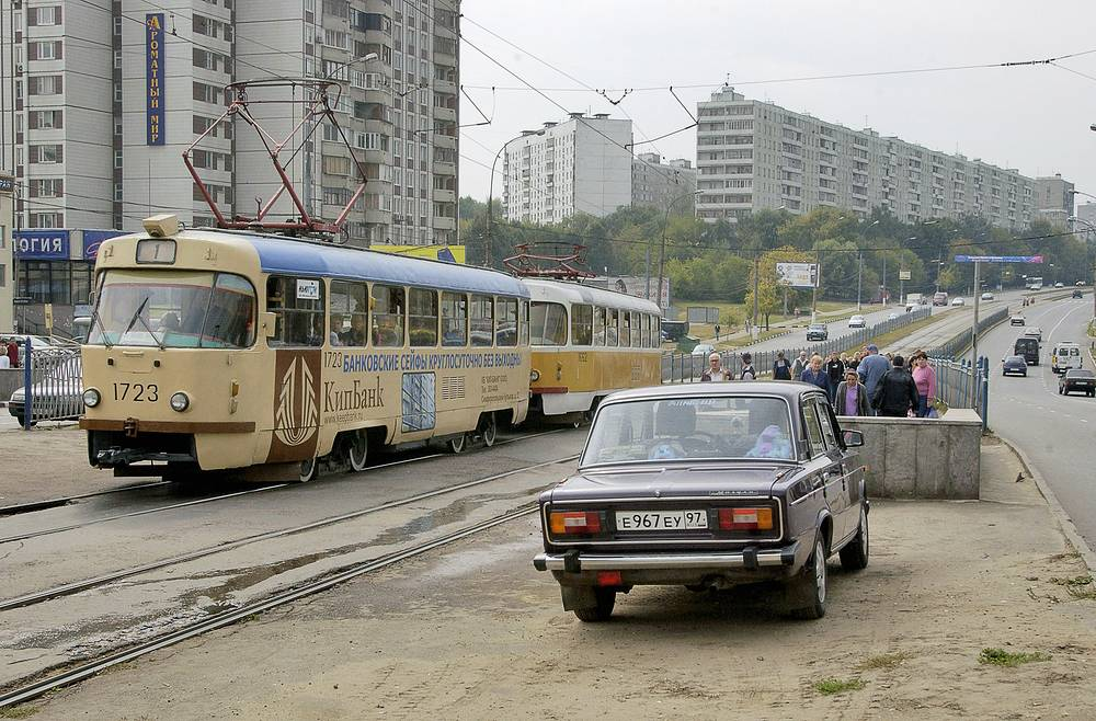 A tram seen on the outskirts of Moascow in 2005