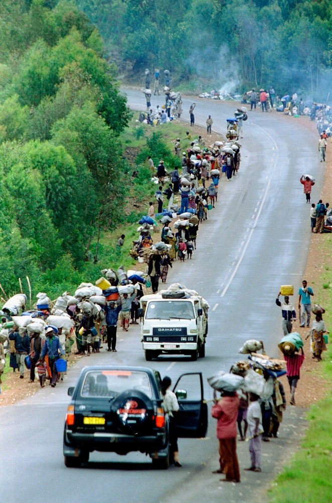 Radio presenter Georges Ruggiu was sentenced to 12 years of prison for calling to kill Tutsi, whom he called ' 	cockroaches'. Journalist Hassan Ngeze will spend the rest of his life in prison. Photo: refugees returning to Kigali in 1996