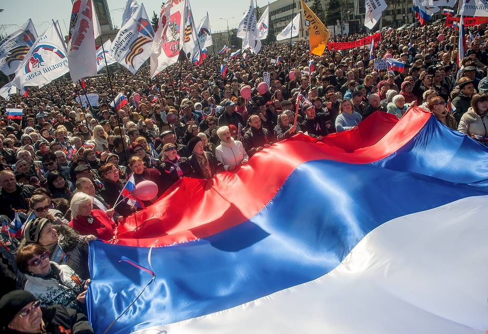 On April 6 thousands of people went out on the streets in eastern Ukraine's city of Donetsk