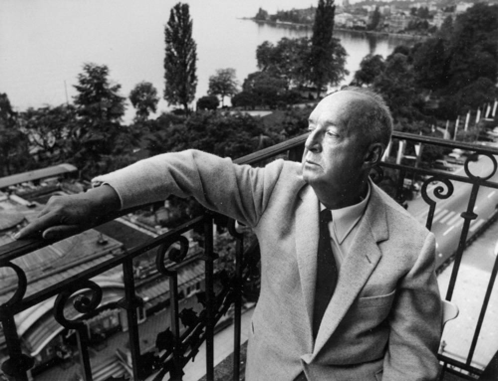 Nabokov sitting on the balcony of his room in Montreux Palace hotel in Switzerrland, 1967
