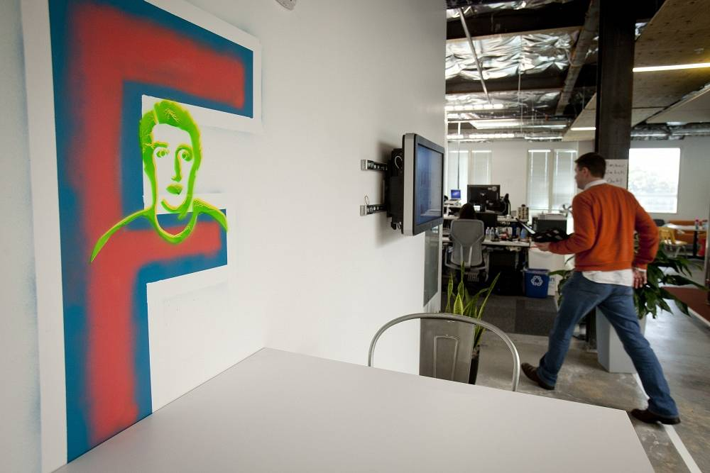 One of the many Facebook logo inspired art pieces that lines the walls of Facebook's Corporate Headquarters in Menlo Park