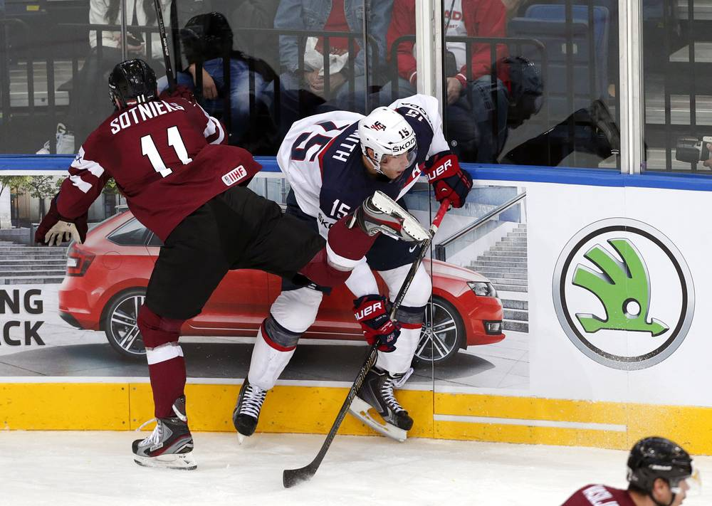 Kristaps Sotnieks (L) of Latvia against USA player Craig Smith