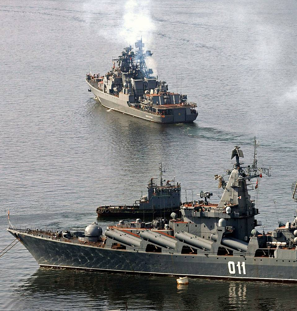 Varyag guided missile cruiser (Russian Pacific Fleet's flagship) and Admiral Panteleyev large anti-submarine ship