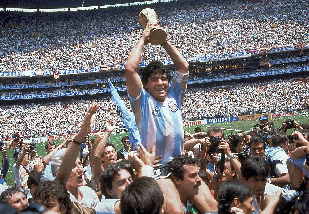 World Cup 1986 once again took place in Mexico. In the final Argentina met West Germany and won 3-2. The World Cup is famous for the controversial action in which Maradona knocked the ball with his left hand into the net of England's goalie Peter Shilton