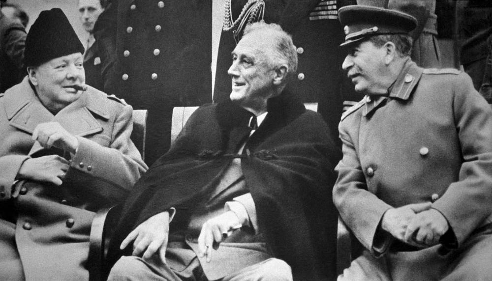 On 4–11 February 1945 US, UK and Soviet leaders held a conference in the USSR's Yalta, where they made arrengements about the post-war Europe. Photo: Winston Churchill, Franklin Roosevelt and Joseph Stalin in Yalta
