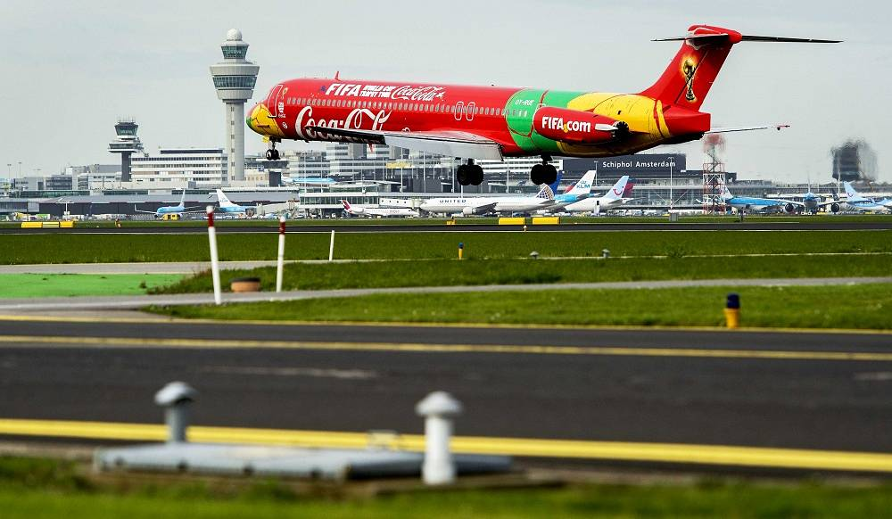 The FIFA World Cup Trophy Tour plane