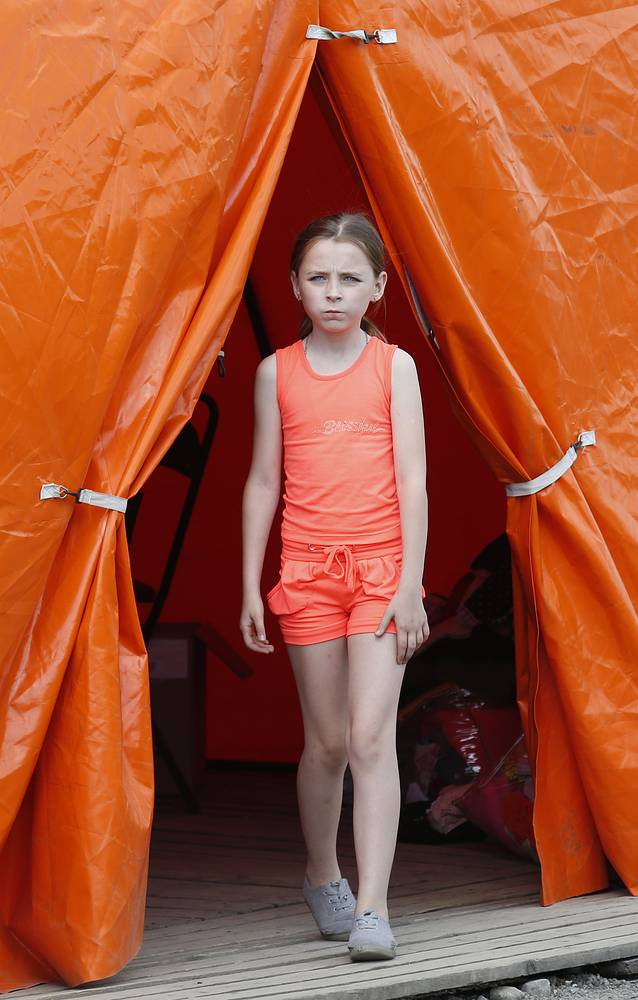 Ukrainian girl at a camp in Russia's Rostov Region