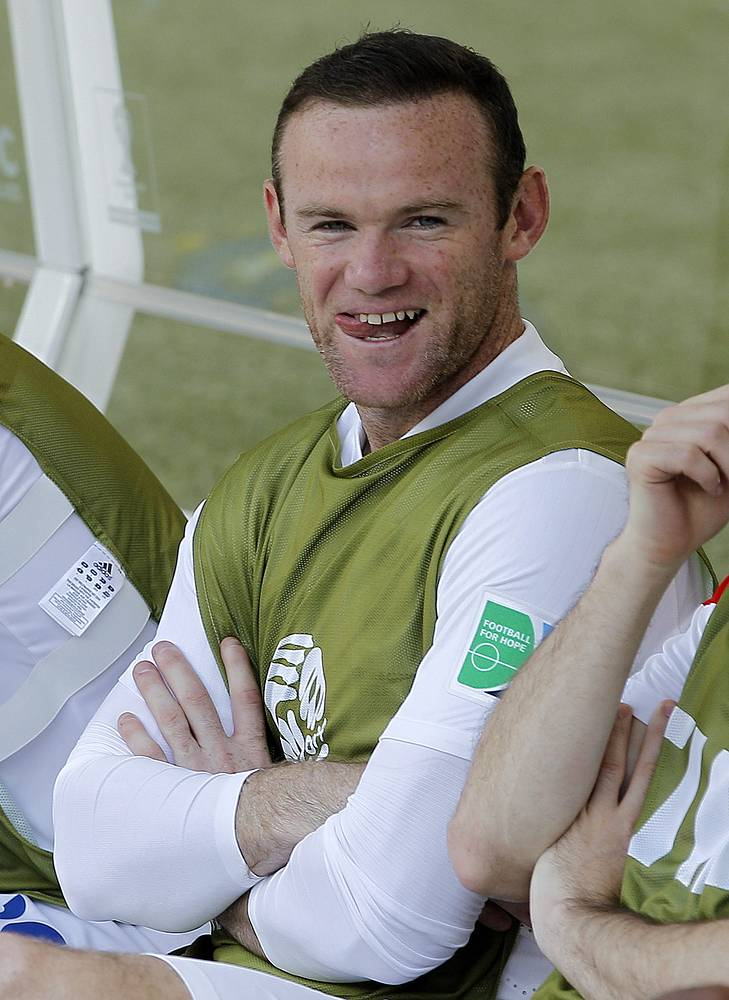 Wayne Rooney of England on the bench