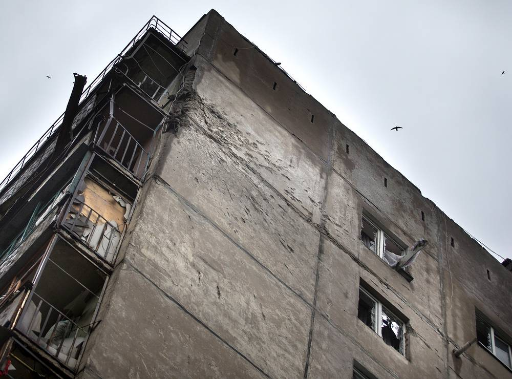 Aftermath of shelling in Luhansk
