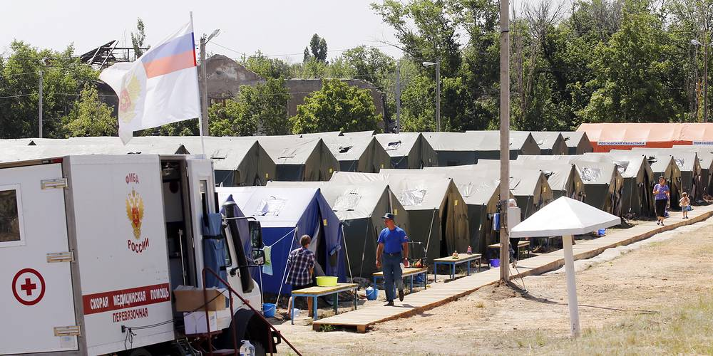 A refugee camp in Russia's Rostov Region