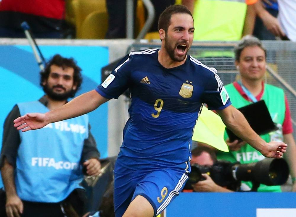 Argentina's Gonzalo Higuain scored a goal, but it was called offfside